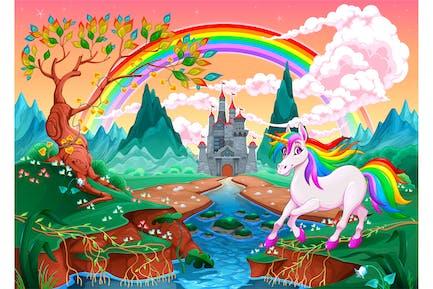 Einhorn in ein Landschaft mit Regenbogen und Schloss