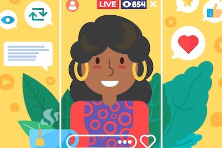 Afroamerikanische weibliche Video Blogger-Illustration