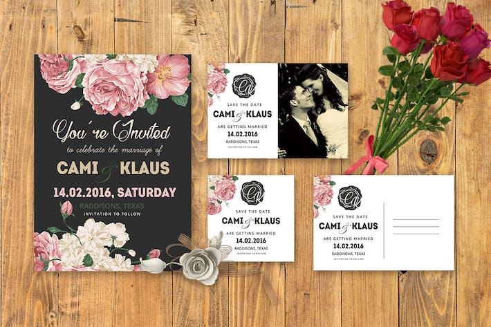 DIY Peonies Wedding Invitation PSD Template by Squirrel92
