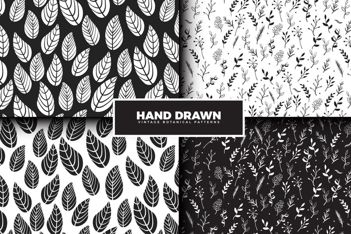 Thumbnail for Hand Drawn Leaves Pattern Collection