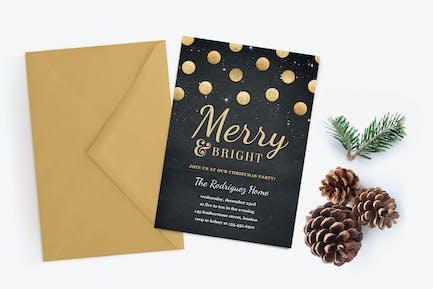 Gold Confetti Christmas Party Invitation