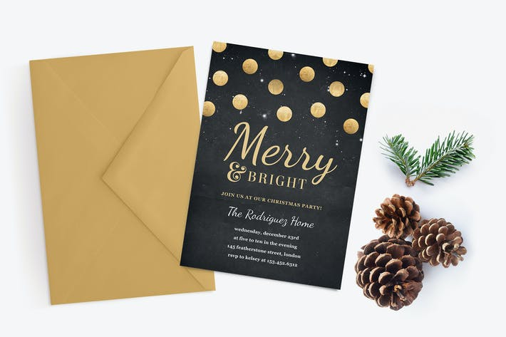 Thumbnail for Gold Confetti Christmas Party Invitation