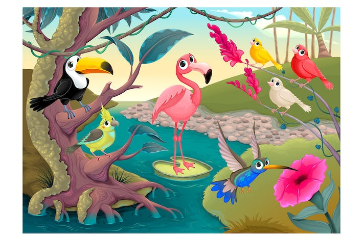 Thumbnail for Group of funny tropical birds in the jungle