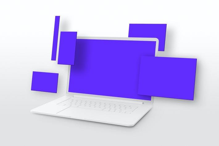 Thumbnail for Macbook Perspective Multi-Screen Mockup