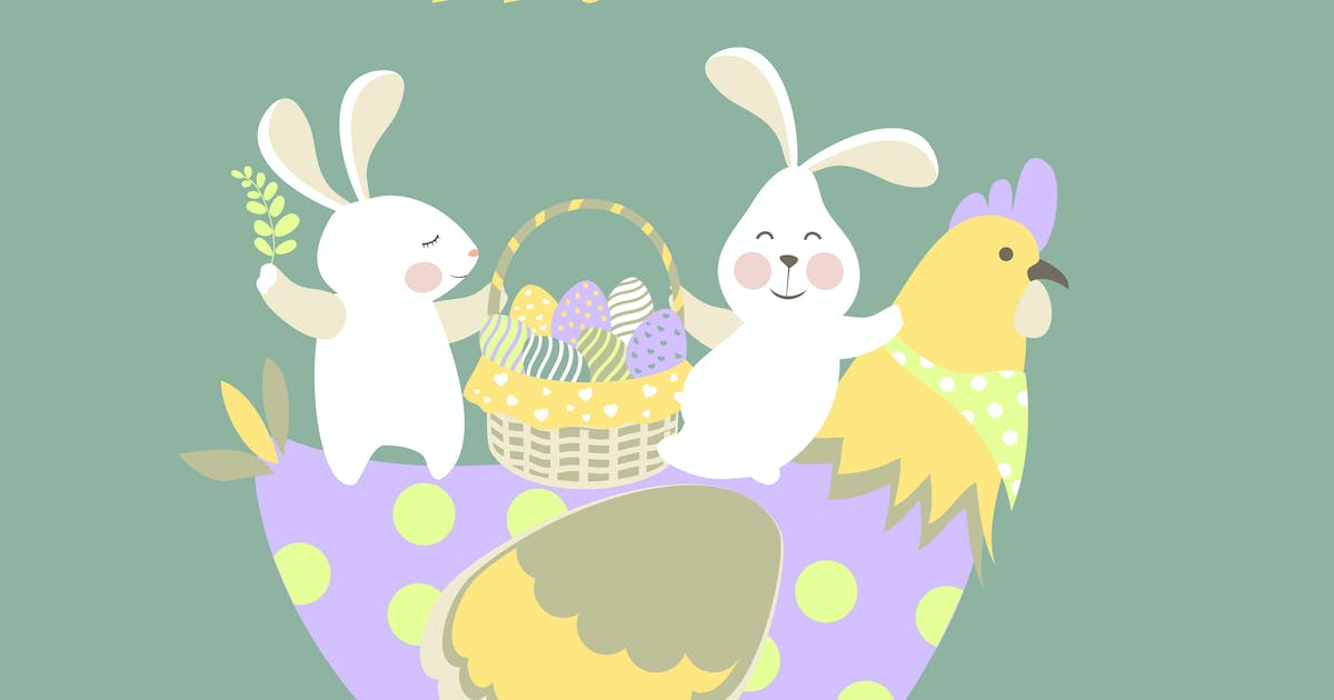 Download Easter bunnies,chicken and easter eggs. Vector by masastarus