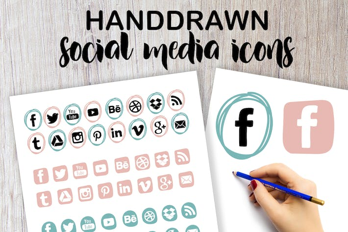 Thumbnail for Handdrawn Social Media Icons
