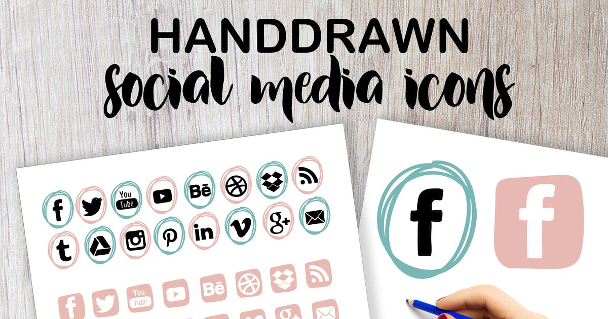 Download Handdrawn Social Media Icons by switzergirl