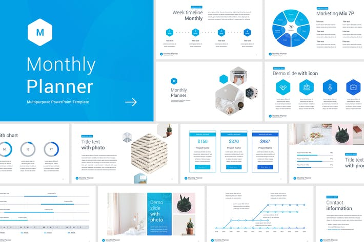 monthly planner powerpoint template by site2max on envato elements
