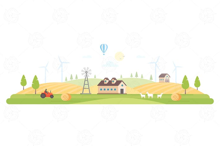 Thumbnail for Eco village - flat design style illustration