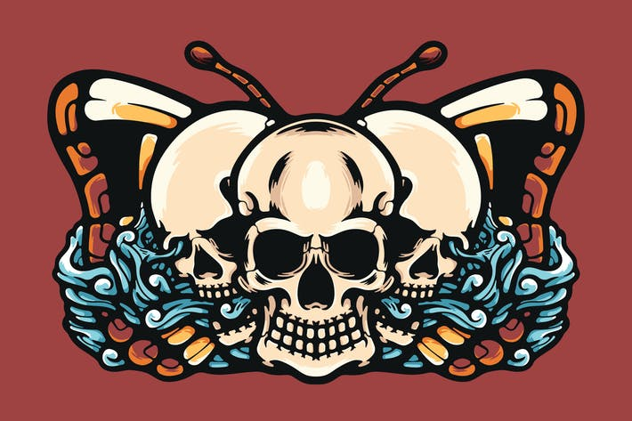 Skulls And Butterfly