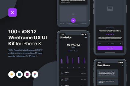 UIXO - iOS 12 Wireframe UI & UX Kit - iPhone X
