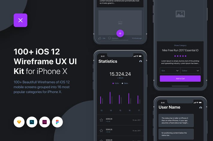 Thumbnail for UIXO - iOS 12 Wireframe UI & UX Kit - iPhone X