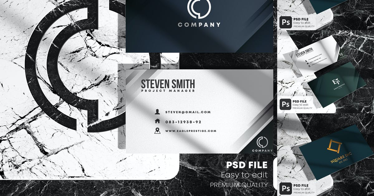 Download Business Card on Marble Stone Mockup Set by Nmotion
