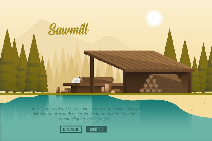 Sawmill - Vector Landscape & Building by aqrstudio on Envato Elements