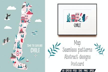 Chile Karte, Postkarte, Grafik Designs