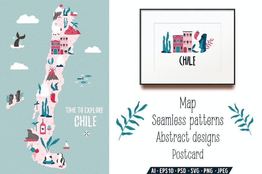 Chile Map, Postcard, Graphic Designs