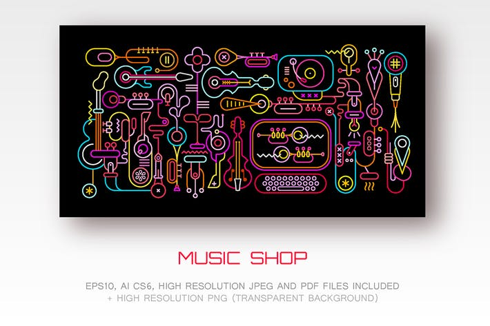 Thumbnail for Music Shop neon colors vector illustration