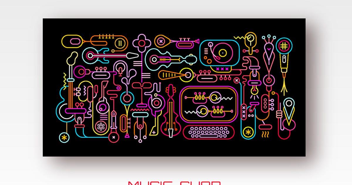 Download Music Shop neon colors vector illustration by danjazzia