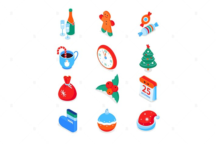 Thumbnail for Merry Christmas,  Happy New Year - isometric icons