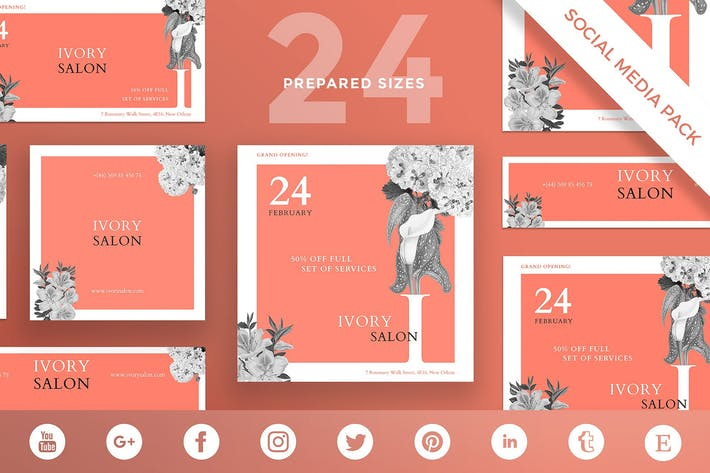 Beauty Salon Social Media Pack Template