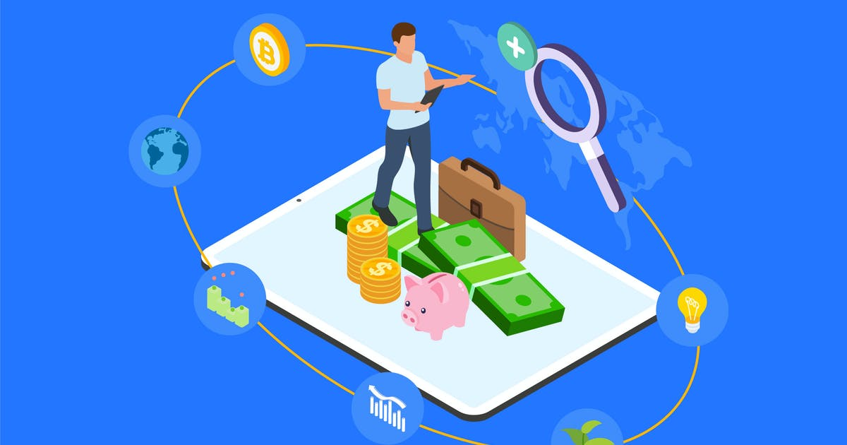 Download Diversify Investment Isometric Illustration - TU by angelbi88
