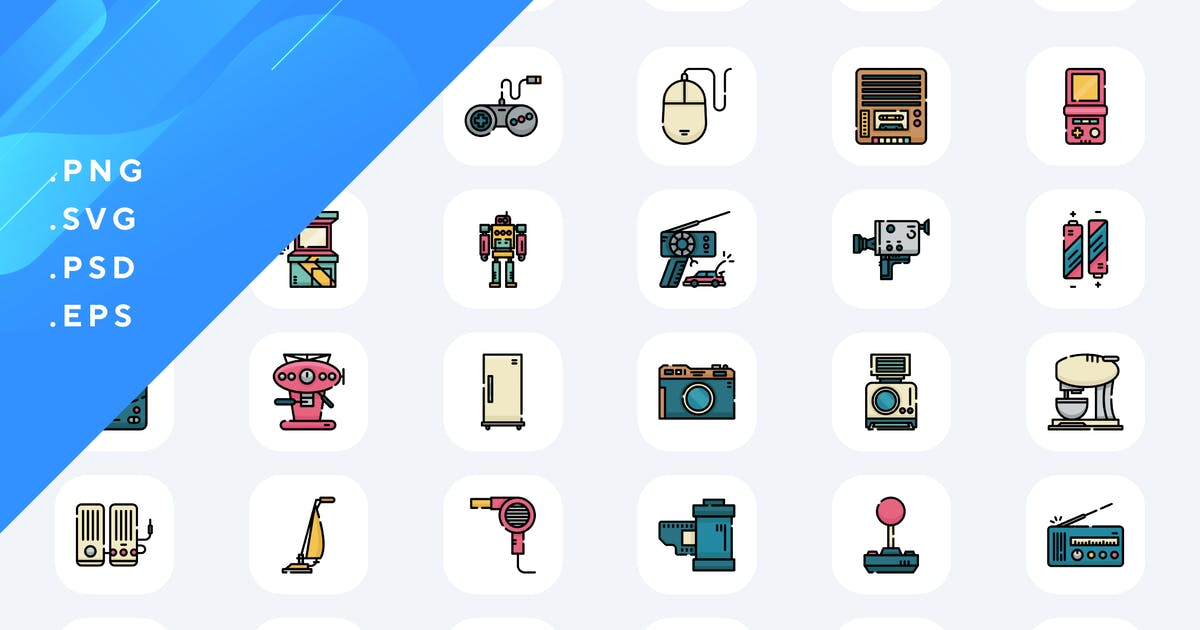 Download 50 Retro Electronics Icons by Guapoo