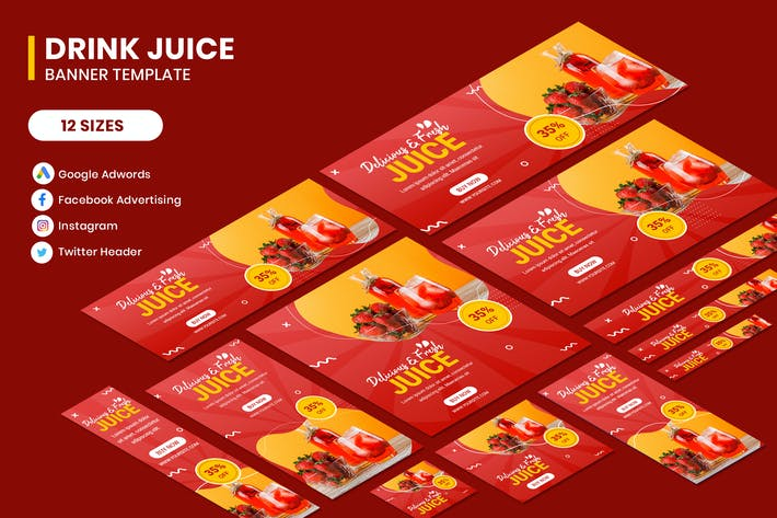 Thumbnail for Drink Juice Google Adwords Banner Template