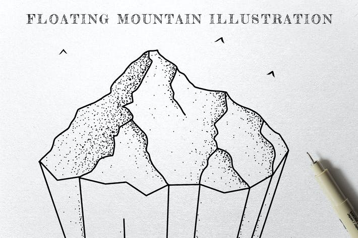 Thumbnail for Floating Mountain - Ink Illustration