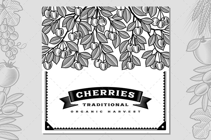 Thumbnail for Retro Cherry Harvest Card Black And White