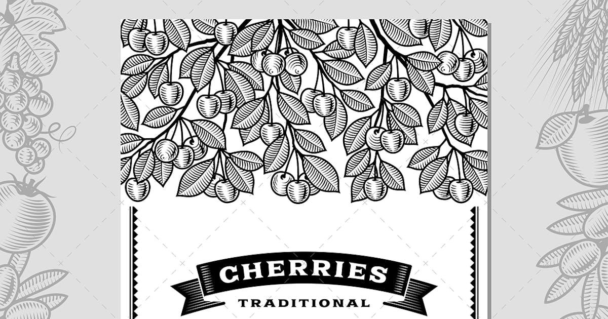 Download Retro Cherry Harvest Card Black And White by iatsun
