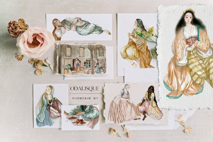 Thumbnail for Odalisque - watercolor harem ladies