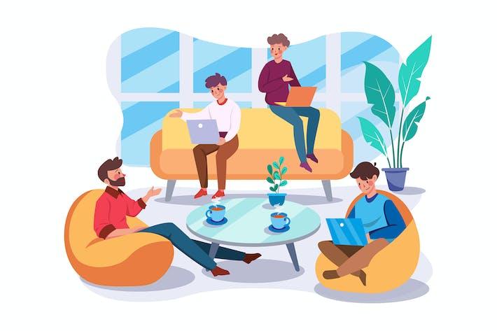 Thumbnail for Geschäftsmann unterhält sich im Wohnzimmer