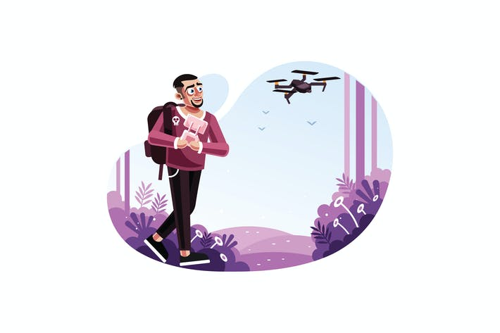 Thumbnail for Mann, der eine Drohne mit Fernbedienung betätigen