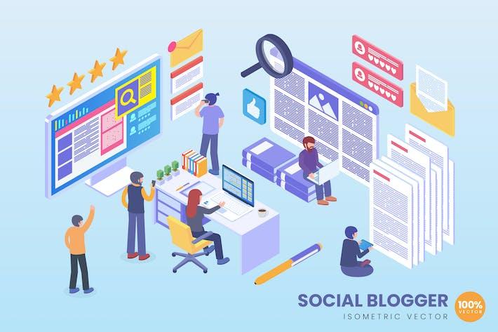Thumbnail for Isometric Social Blogger Vector Concept