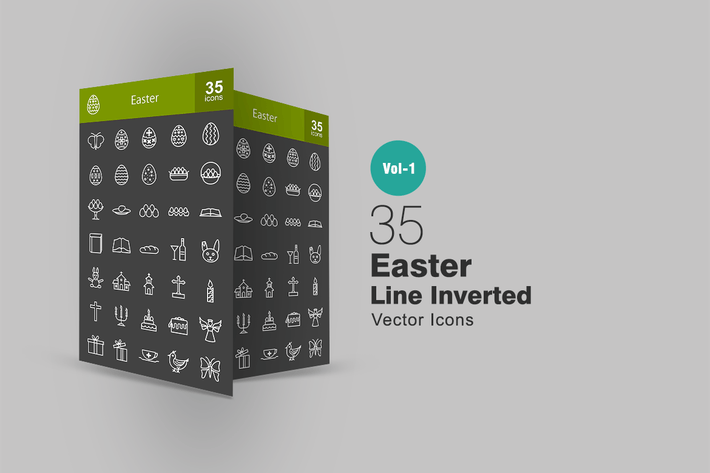 Thumbnail for 35 Easter Line Inverted Icons
