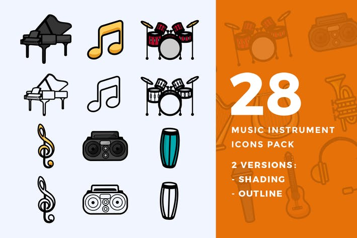 Cover Image For 28 Music Instrument Icon Pack