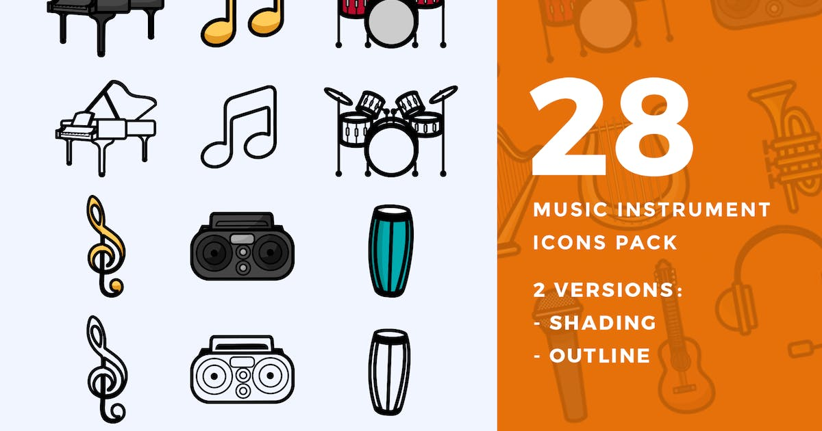 Download 28 Music Instrument Icon Pack by ovozdigital