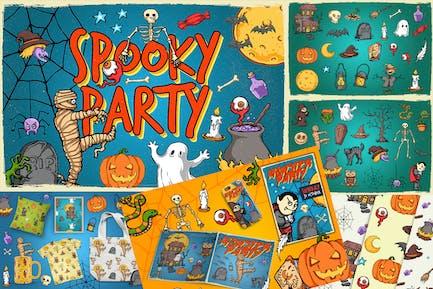 Halloween-Objekte & nahtlose Muster