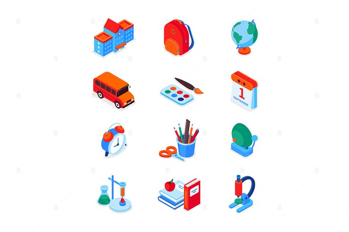 Back to school - modern colorful isometric icons