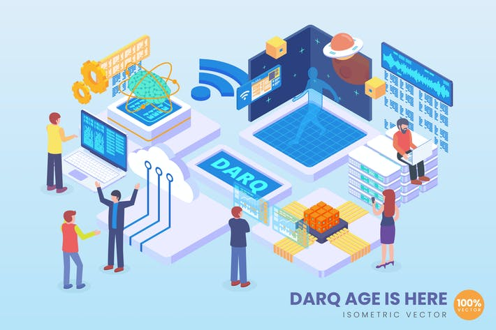 Thumbnail for Isometric DARQ Technology Vector Concept