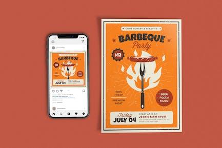 Retro Barbeque Party-Vorlagen-Set