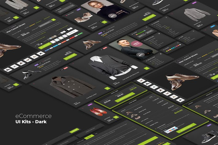 Cover Image For eCommerce UI kits - Dark Style