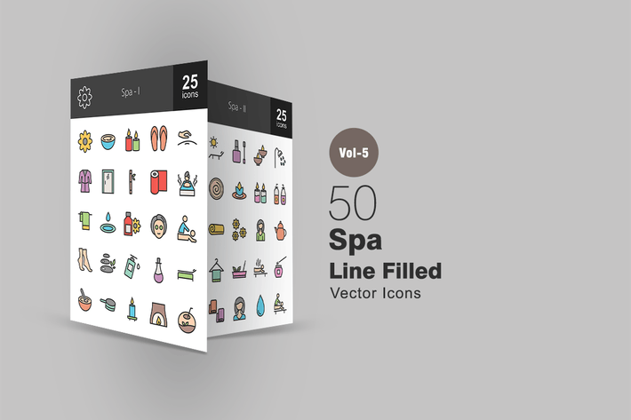 Thumbnail for 50 Spa Line Filled Icons