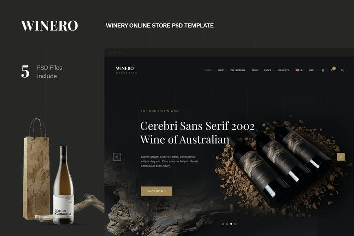 Thumbnail for Winero - Winery Online Store PSD Template