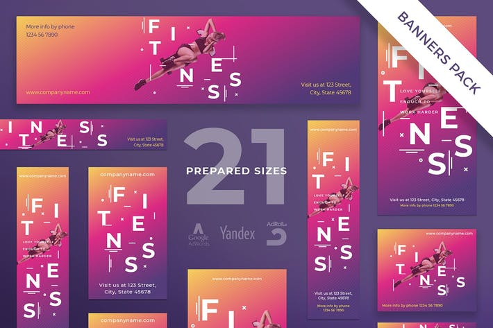 Thumbnail for Fitness Gym Banner Pack Template