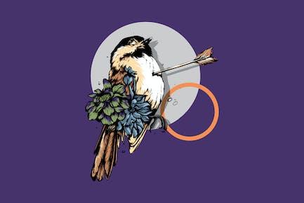 LOVE HURT - bird vector illustration