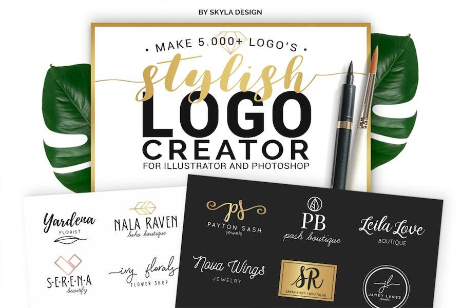 Plantillas de kit de creador de Logo con estilo AI + PS