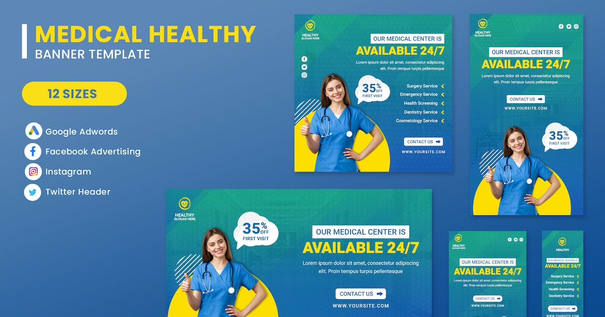 Download Medical Sevices Banner Set Template by nanoagency