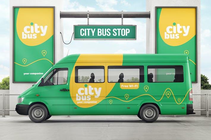 City Bus On Bus Stop Branding Mockup