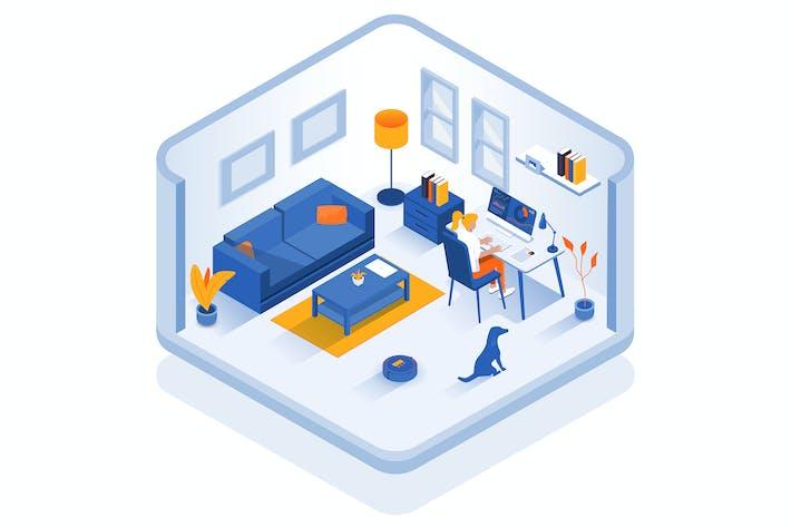 Diseño moderno de ilustración isométrica - Home office